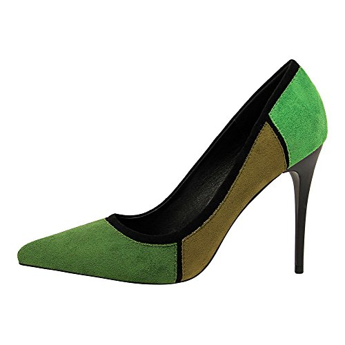 VogueZone009 Women's Court Shoes High Closed Pointed Pull Toe Heels Frosted Green On AAxrqgZdw