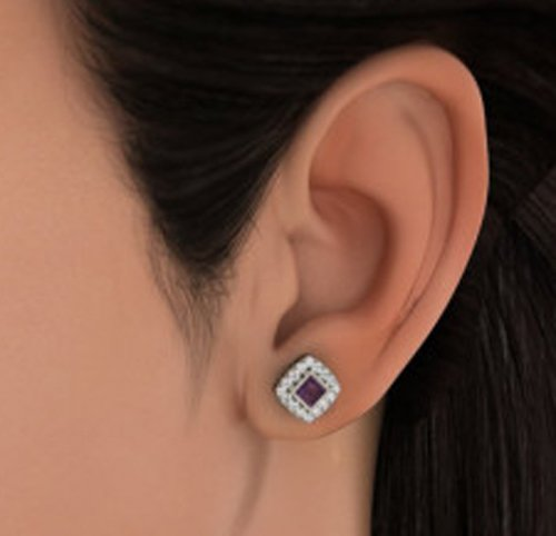14 K Or blanc 0,55 CT TW Round-cut-diamond (IJ | SI) et améthyste Boucles d'oreille à tige