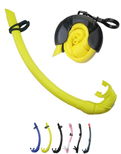 OMGear Roll Up Snorkel Flexible Foldable Full Silicone in Black Blue Yellow with Storage Case for Freediving Spearfishing Scuba Diving Swimming Snorkeling (Yellow)