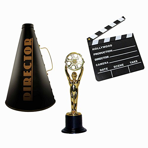 Windy City Novelties Hollywood Directors Party Kit Includes Directors Megaphone + Clapboard + Award Trophy -