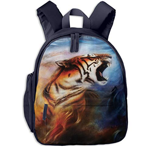 (Wild Angry Tiger Portrait Fire Flame Safari Children's/Kids School/Nursery/Picnic/Carry/Travelling Bag Backpack Daypack Bookbags Navy)