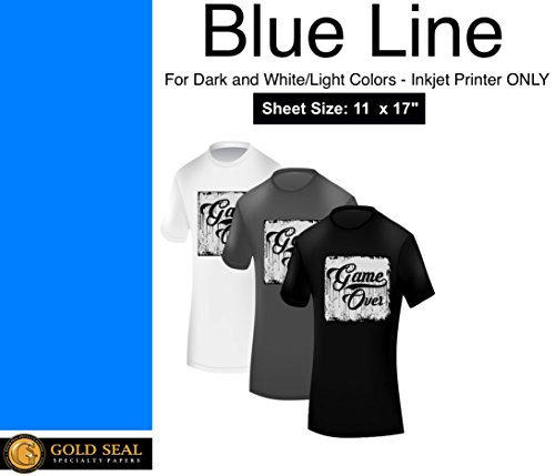Blue Line Dark Iron On Heat Transfer Paper for Inkjet 11 x 17-25 Sheets ()
