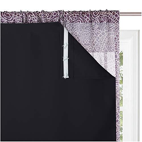 KGORGE Blackout Window Curtain Liner - 100% Light Block Panels Heat Insulated Lined Curtains Rod Pocket Darkening Drapery Liners, Bonus Hooks (2 Pcs, Wide 27 x Long 60 inches Each, Black)