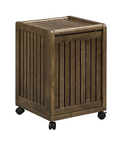 Abingdon Mobile Hamper with Lid - Glaze Wood Cabinets