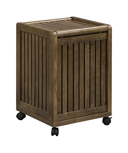 New Ridge Home Goods Abingdon Solid Birch Wood Mobile Hamper with Lid, Antique (New Chestnut Wood Finish)