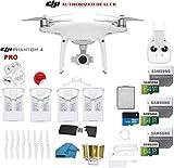 DJI Phantom 4 PRO Quadcopter Drone with 1-inch 20MP 4K Camera KIT + 4 Total DJI Batteries + 3 64GB Micro SDXC Cards + Card Reader 3.0 + Range Extender + Charging Hub