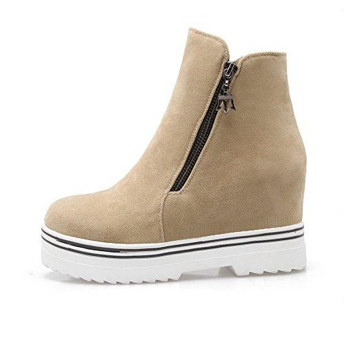 Girls Beige Boots Heighten Zipper Leather Inside BalaMasa Platform Imitated 7dxqnR