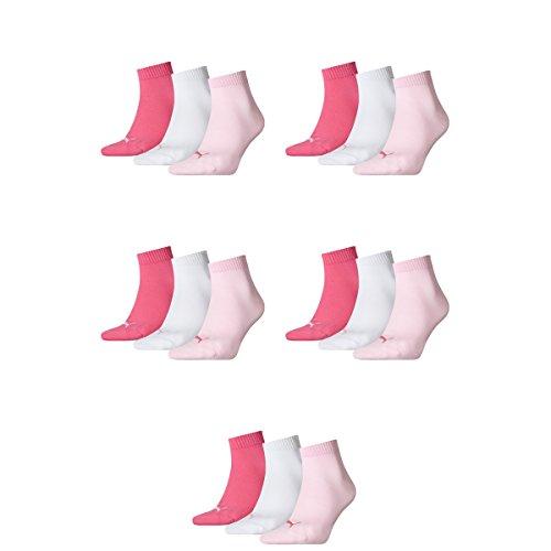 15 pair Puma Sneaker Quarter Socks Unisex Mens & Ladies 422 - pink lady