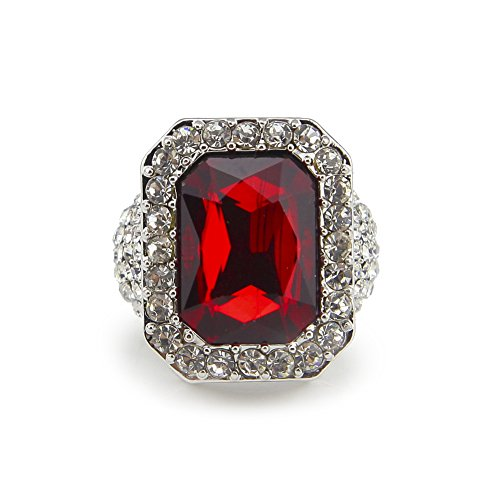 HongBoom Hot Hip Hop Rings 18K Gold Silver Plated CZ CRYSTAL Fully Iced-Out CUBAN Ruby Ring (Silver /US size 8) ()