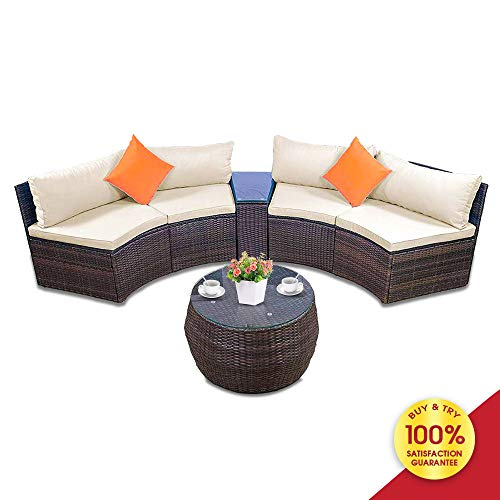 ALI VIRGO Patio Furniture Outdoor Half-Moon Sectional Wicker Sofa Set with Two Pillows and Coffee Table, ((Beige)