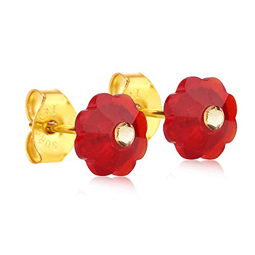 (24K Gold Coated Stud Earrings (Red))