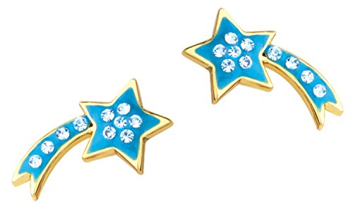 (Girl Nation Little Treasures Collection Enamel Shooting Star Post Earrings with Crystal Accent, Azure)