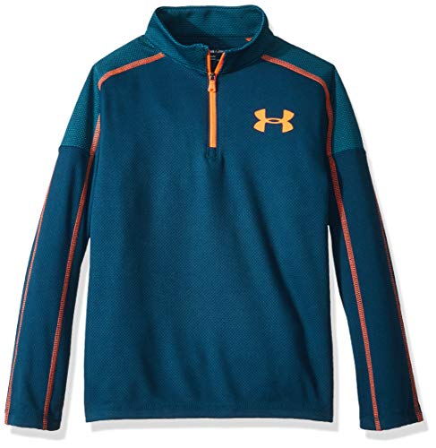 Under Armour Boys Tech 1/2 Zip, Techno Teal (489)/Magma Orange, Youth Large