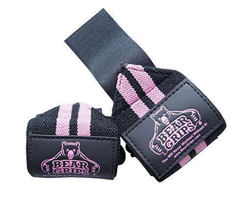 (Bear Grips: II-band wrist wraps, wrist support for wods, weight lifting, wrist brace (Pink, 12