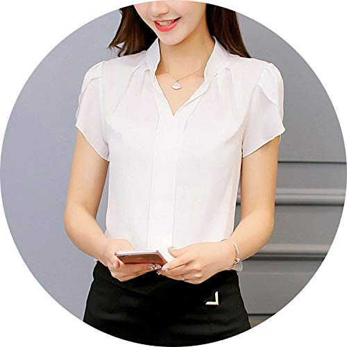 (Women Shirt Chiffon Blouse Femininas Tops Short Sleeve Elegant Ladies Formal Office)