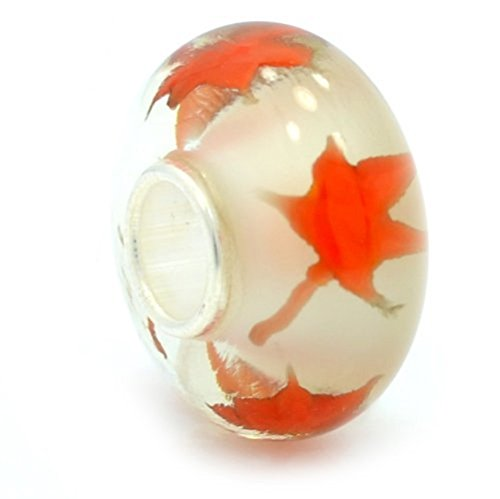 Glass Charm Leaf Silver Sterling (Pro Jewelry 925 Solid Sterling Silver White Background with Orange Leaves Glass Charm Bead)