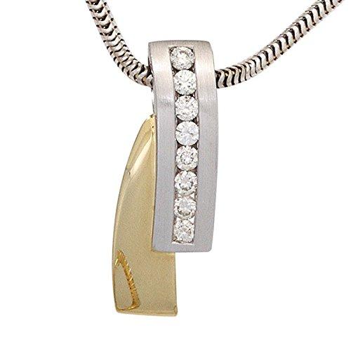 8 Diamants brillants avec pendentif or jaune et blanc 585 partiellement dépoli-femme