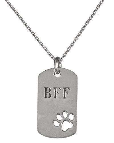 Jewelry Nexus Silver-tone Pewter Dog Paw Print BFF Best Friend Forever Bar Plaque Necklace Greater Good Donation