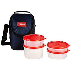 Amazon Brand - Solimo Plastic Lunch Box with Bag, Set of 4 (Blue Lids and Black Bag) 13 41 4JaBOHSL. SS300