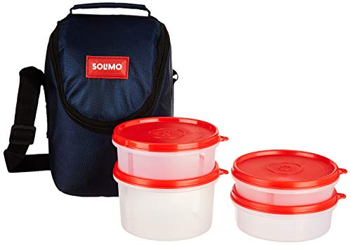 Amazon Brand - Solimo Plastic Lunch Box with Bag, Set of 4 (Blue Lids and Black Bag) 1 41 4JaBOHSL