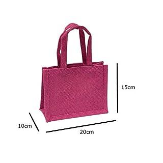 Sacchetto regalo in iuta di dimensioni medie, colore fucsia, per compleanno, matrimonio, San Valentino, festa 15cm x 20cm x 10cm rosa Eastern Thread Mill