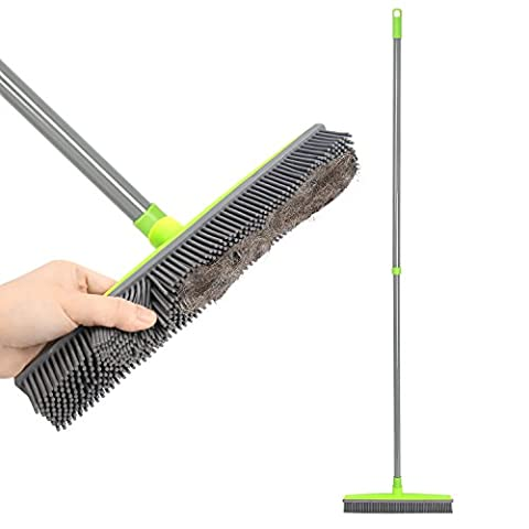 Push Broom Extra Long Handle Rubber Bristles Sweeper Squeegee Edge 55.1 inches Scratch Free Bristle Broom for Pet Cat Dog Hair Carpet Hardwood Tile Windows Clean Water Resistant (Great Lengths Anti Tap)