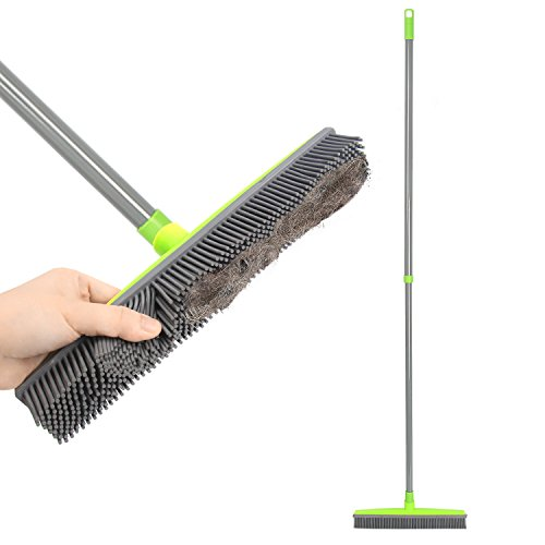 Push Broom Extra Long Handle Rubber Bristles Sweeper Squeegee Edge 55.1 inches Scratch Free Bristle Broom for Pet Cat Dog Hair Carpet Hardwood Tile Windows Clean Water Resistant (Grey) (Indoor Broom)