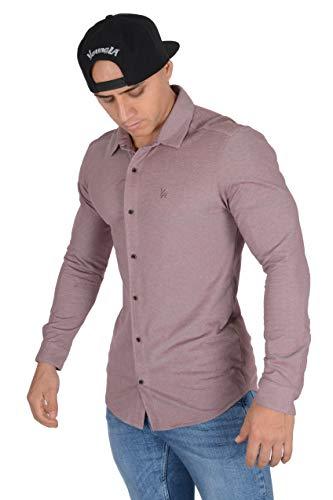 YoungLA Men's Dress Shirt Athletic Slim Fit Long Sleeve Button Down 415 Heather Burgundy