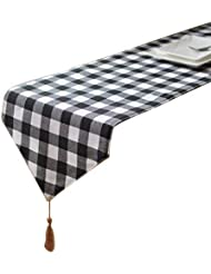 Aothpher 12 inch by 78 inch Chevron Simple Style Geometric Plaid Table Runner Buffalo with Tassel for Dining Table
