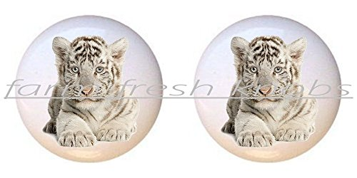 SET OF 2 KNOBS - Young White Tiger - Big Cats - DECORATIVE Glossy CERAMIC Cupboard Cabinet PULLS Dresser Drawer KNOBS