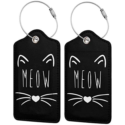 Cat Meow Leather Travel Bag Tags Luggage ID Tags Carry-On Cards Set Of 1.2.4.Pcs