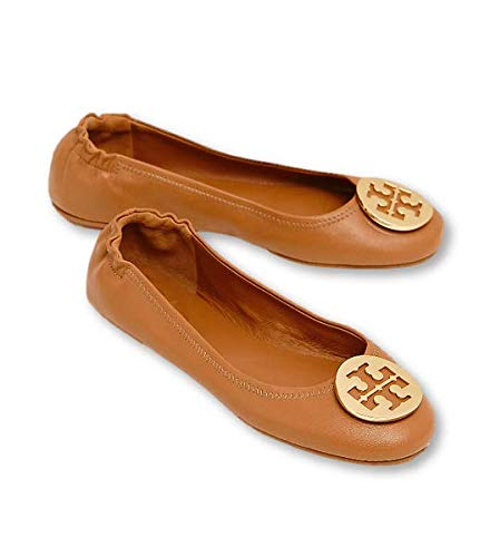 - Tory Burch Minnie Leather Travel Ballet Flats (7.5, Royal Tan / Gold)