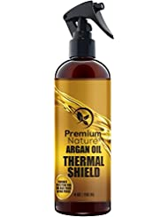 Argan Oil Hair Protector Spray - 4 oz Thermal Heat Protectant Against Flat Iron & Hot Blow Dry - Sulfate Free 100% Natural Prevents Damage Dryness Breakage & Split Ends Premium Nature