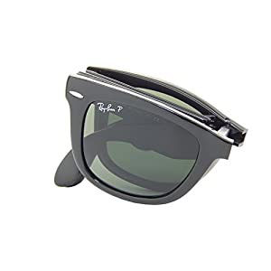 Ray Ban Folding Wayfarer RB4105 601/58 Black/Crystal Green 50mm Polarized Sunglasses