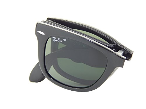 Ray Ban Folding Wayfarer RB4105 601/58 Black/Crystal Green 50mm Polarized - 4105 Ban Wayfarer Folding Ray
