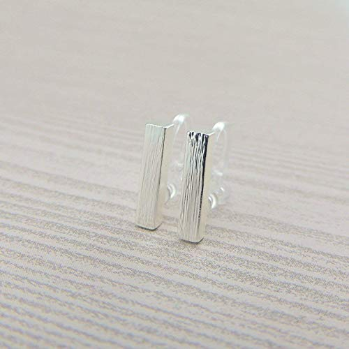 Invisible Clip On Silver-Tone Minimalist Bar Earrings for Non-Pierced Ears, 12mm