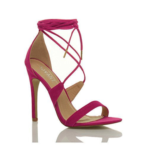 There Lace Size Heel Fuchsia Suede Women High Tie up Pink Ajvani Sandals Barely wzIHXAxq