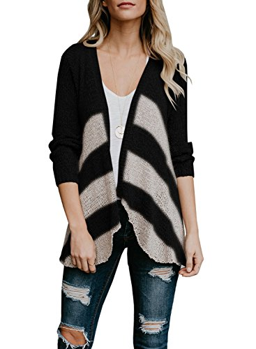 (SUNMMWERY Womens Open Front Long Sleeve Cardigans Striped Knit Sweaters Draped Coat (Black, X-Large))