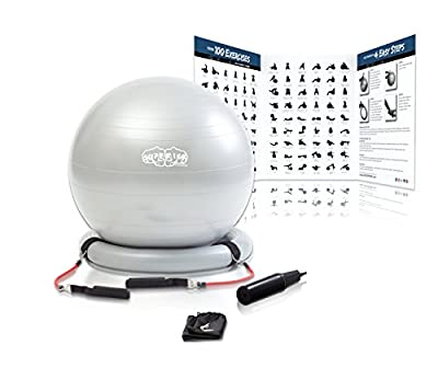 Superior Fitness 600 lb Exercise/Yoga / Stability Ball With Heavy Duty Gym Quality Resistance Bands & Pump - Improves Balance, Core Strength, Back Pain & Posture - For Men & Women