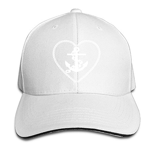 White Anchor Cap Chain (Unisex Maritime Anchor Chain Heart Peaked Baseball Cap Eight Kinds of Color Can Choose Suitable for Four Seasons Wear)