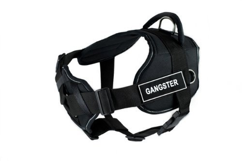 Dean & Tyler New DT FUN Dog Harness With Padded Chest Piece With 3 Straps, Reflective Trim Size  Medium (Will Fit  71cm 86cm) with  GANGSTER  Velcro Patches, Black White