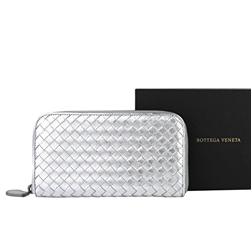 Bottega Veneta Woven Silver Metallic Leather Zip Around Wallet 114076 1420