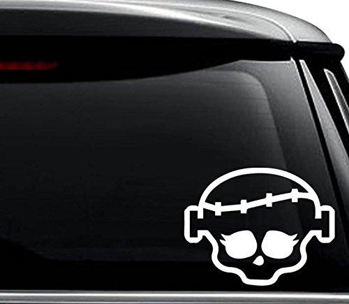 Frankie Monster High Skull Decal Sticker For Use On Laptop, Helmet, Car, Truck, Motorcycle, Windows, Bumper, Wall, and Decor Size- [8 inch] / [20 cm] Wide / Color- Matte White