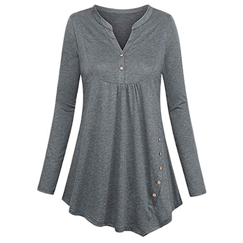 (Xinantime V Neck Blouse Tops Shirt Button Tunic Coat Pullover Long Sleeve Empire Waist Pleated Dress Jumper Sweatshirt Gray)