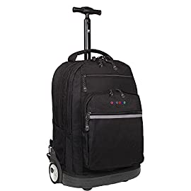 J World New York Sundance LAPTOP Rolling Backpack for Schooling & Travel, 20 inch 57 PEFECT SIZE FOR SCHOOL: Dimension of 20 x 13 x 9 inches Roomy Rolling Backpack with Padded Laptop Sleeve Can hold up to 15.4-inch laptop SUPER COMFORT Air Mesh Cushion Padded Shoulder Straps with SLIP-IN System for Convenience SAFETY AT NIGHT: REFLECTIVE TAPE for Increased Night Visibility