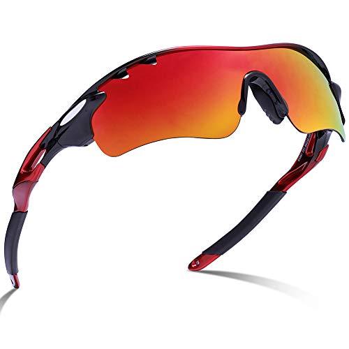 Carfia Outdoor-gepolariseerde zonnebril, UV400-bril, sportbril, fietsbril met 5 verwisselbare lenzen voor skiën, golfen…