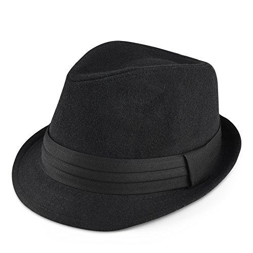 Vbiger Damen Mütze Trilby Hut Fedora Wollhut