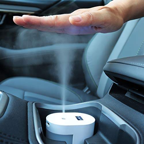 Small Touchless Alcohol Sanitizer Mister w/USB-C Rechargeable – Fits Car Cupholder, Disinfect Hands/Phone/Keys, Soft…
