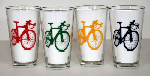 Road Bike Pint Glasses - Set of Four