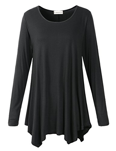 LARACE Womens Long Sleeve Flattering Comfy Tunic Loose Fit Flowy Top (M, Black)